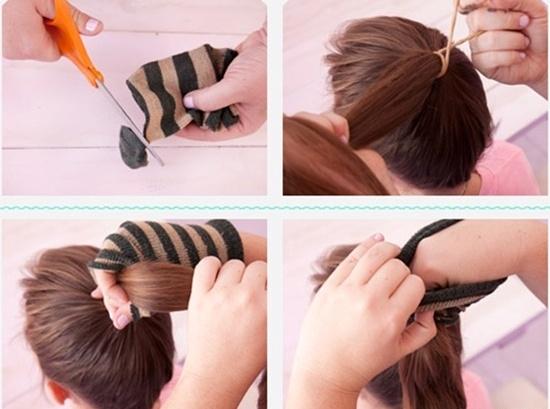 Hướng dẫn thực hiện kiểu tóc búi cao bằng tất cực xinh